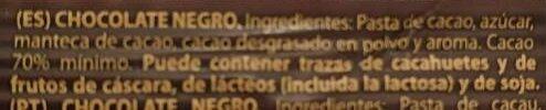 Chocolate negro - Ingredientes - es