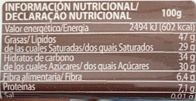 Chocolate negro - Información nutricional - es