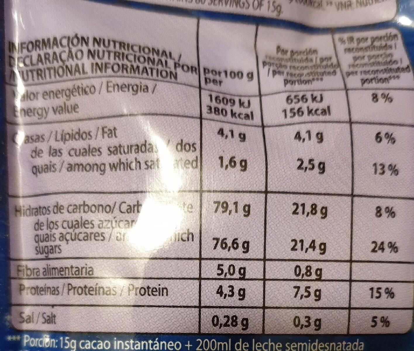 Cacao instantáneo Lacasa - Informació nutricional - es