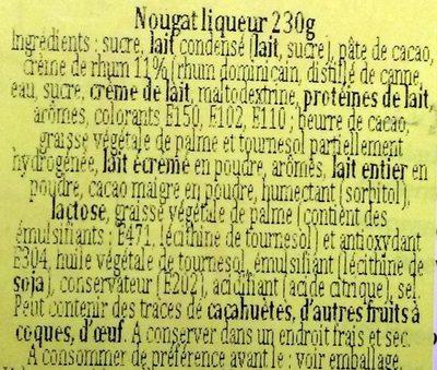 Turron de Licor Barceló Cream - Ingrédients - fr