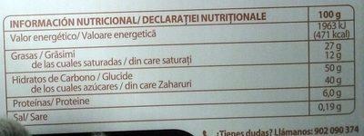 Turron de Licor Barceló Cream - Informations nutritionnelles - fr
