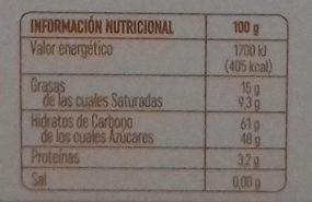 Taronja amb xocolata - Información nutricional