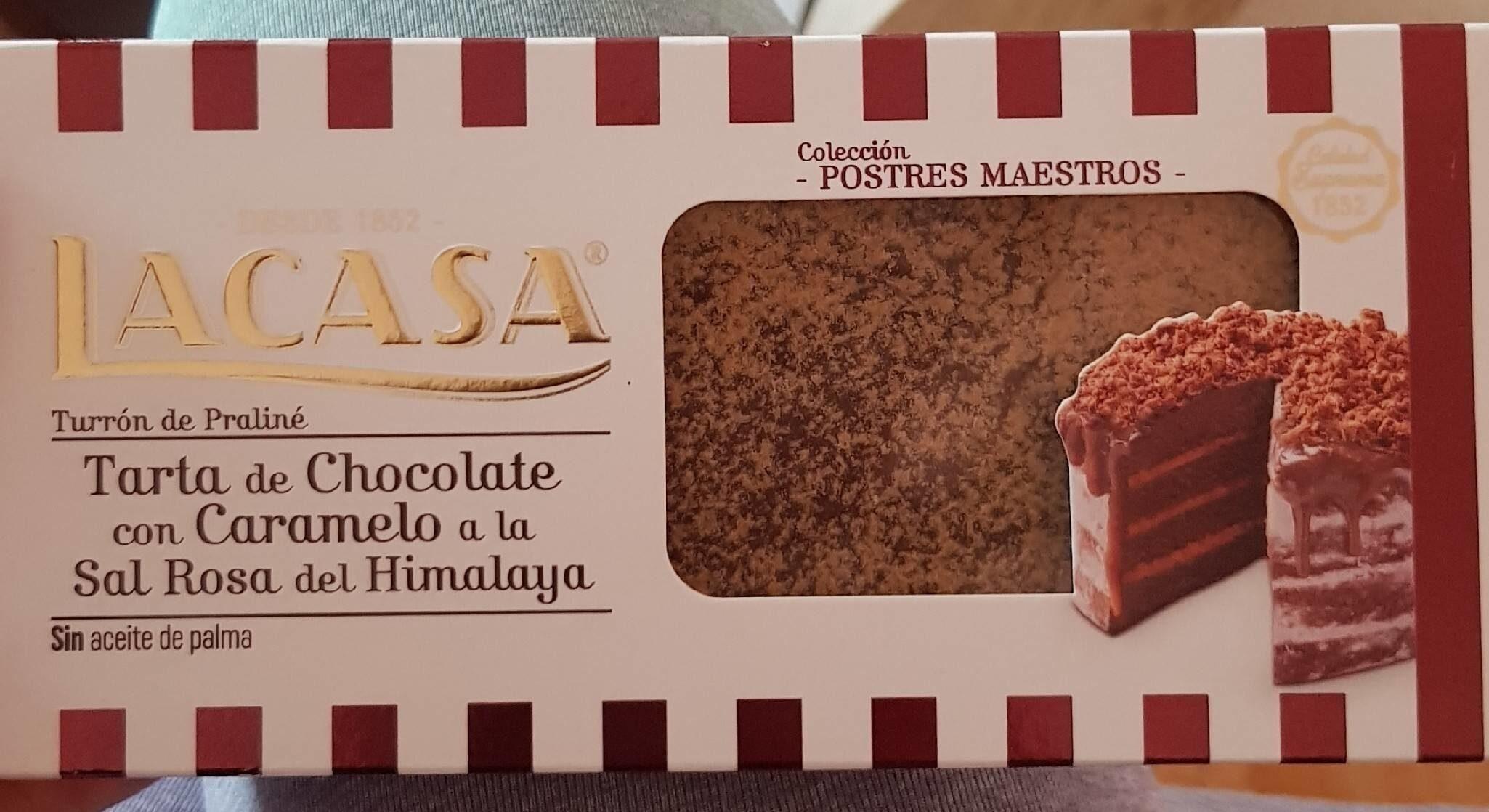 Turrón de praliné, tarta de chocolate con caramelo a la sal rosa del Himalaya - Producto
