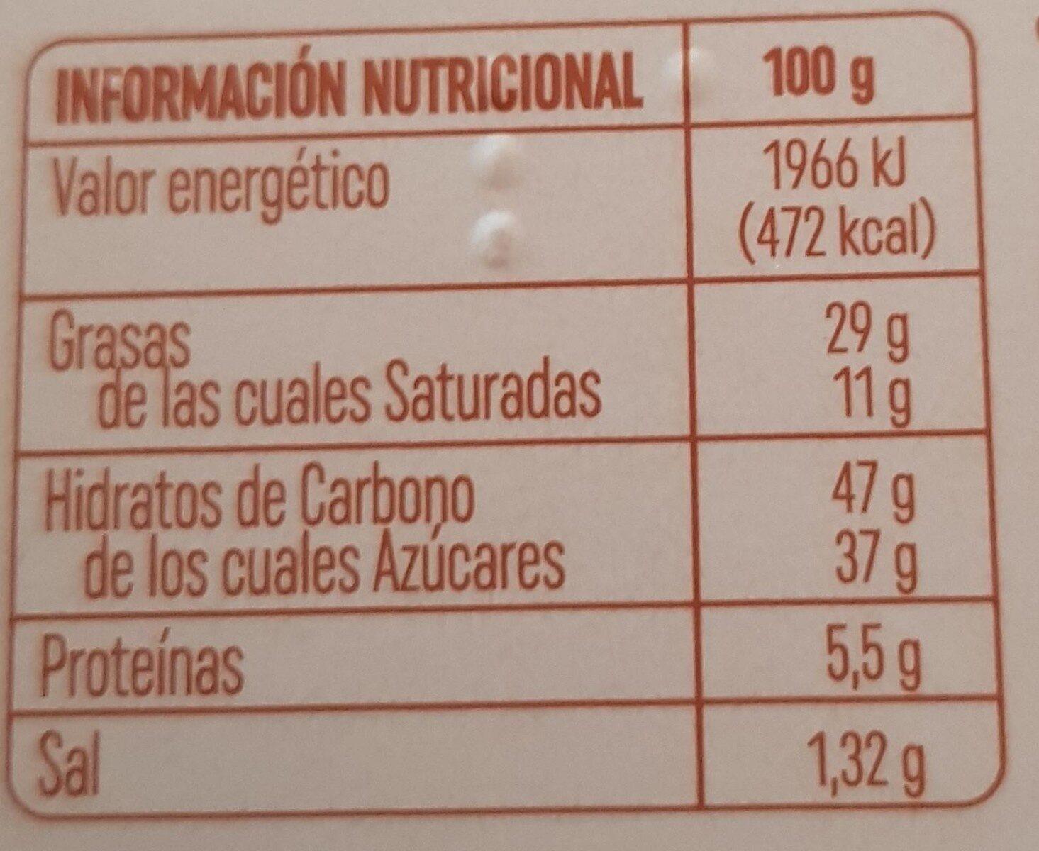 Turrón de praliné, tarta de chocolate con caramelo a la sal rosa del Himalaya - Información nutricional