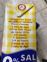 Caldo de pollo natural 0% sal añadida envase 1 l - Ingrediënten