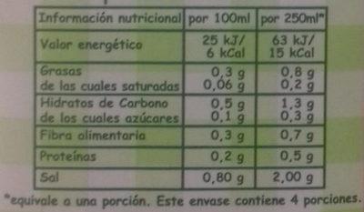 Caldo natural de verduras - Información nutricional