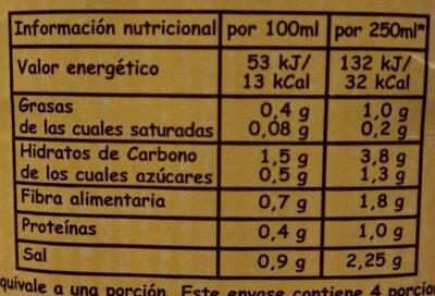 Caldo de cebolla de cultivo ecológico 100% natural envase 1 l - Información nutricional