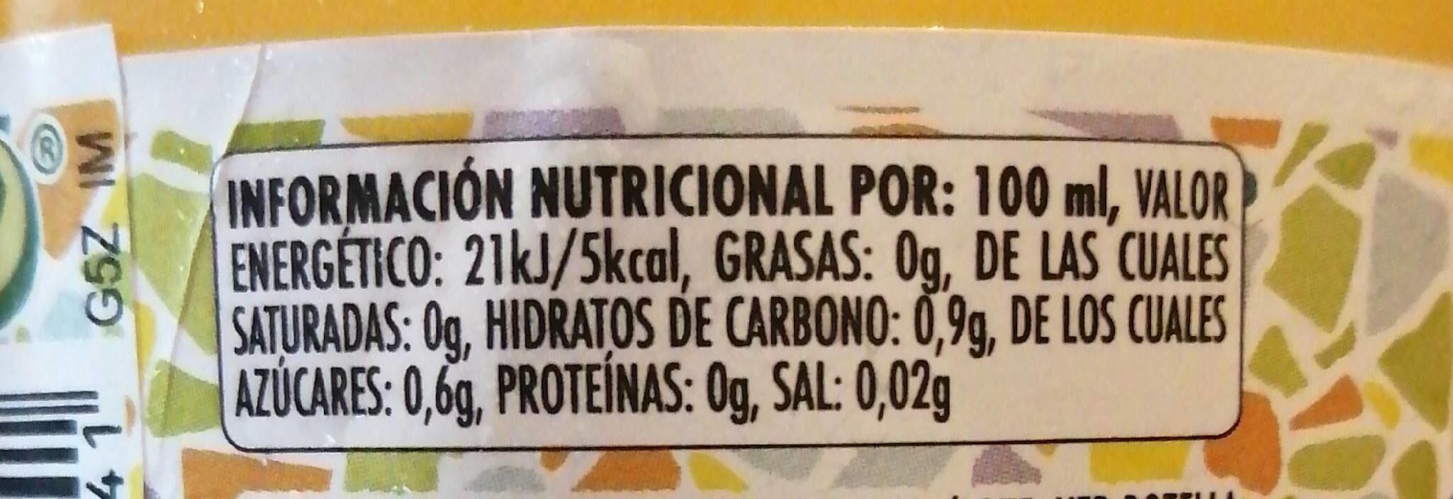 Agua mineral natural con gas sabor naranja - Nutrition facts - es
