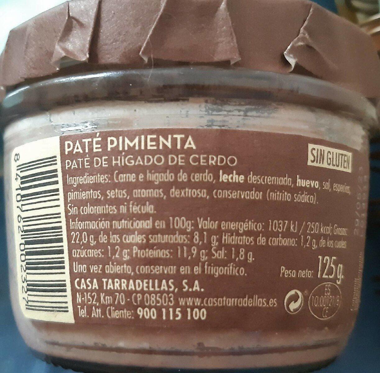 Patè Pimienta - Nutrition facts - fr