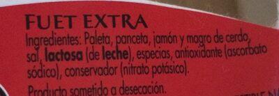 Fuet Extra - Ingredients