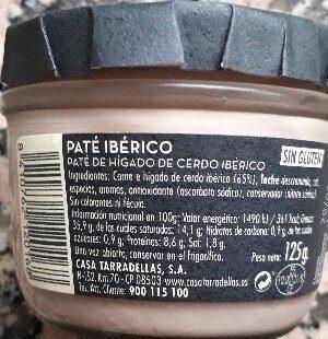 Casa Tarradellas Paté D'ibèric - Ingredients - es