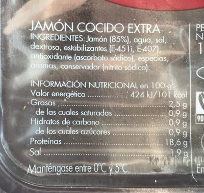 Jamón cocido extra - Ingredients