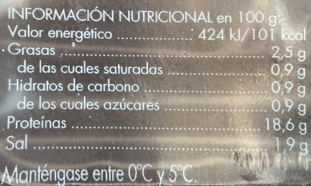 Jamón cocido extra lonchas finas sin gluten - Información nutricional - es