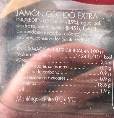 Jamón cocido extra - Informació nutricional - es