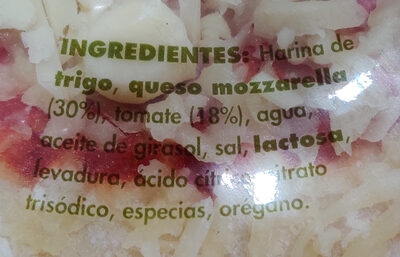 Pizza margarita - Ingredients - es