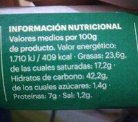 Masa hojaldre mantequilla - Informació nutricional