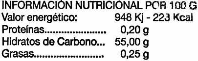 Dulce de membrillo - Información nutricional