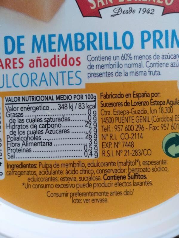 Dulce de membrillo primera - Ingrediënten - es