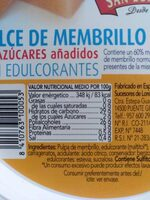 Dulce de membrillo primera - Voedingswaarden - es