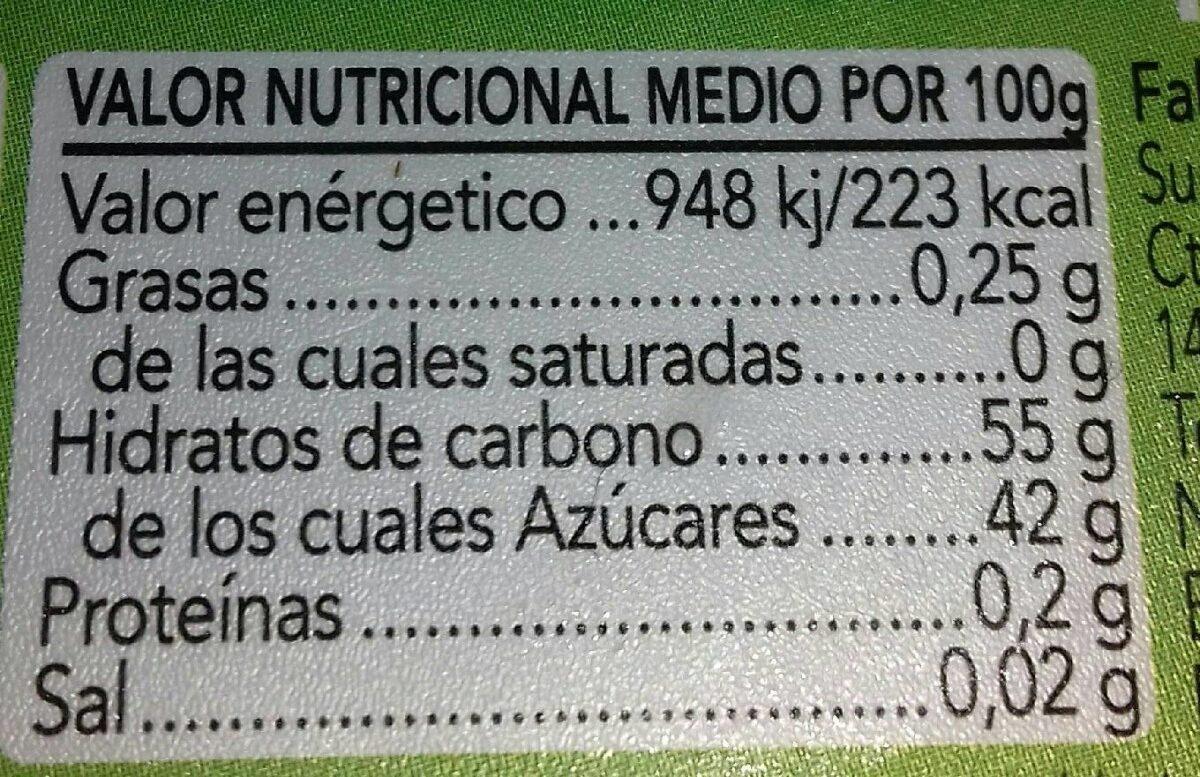 Dulce de frutas - Información nutricional - es