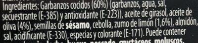 Hummus Pontutoke 220G - Ingredients - es