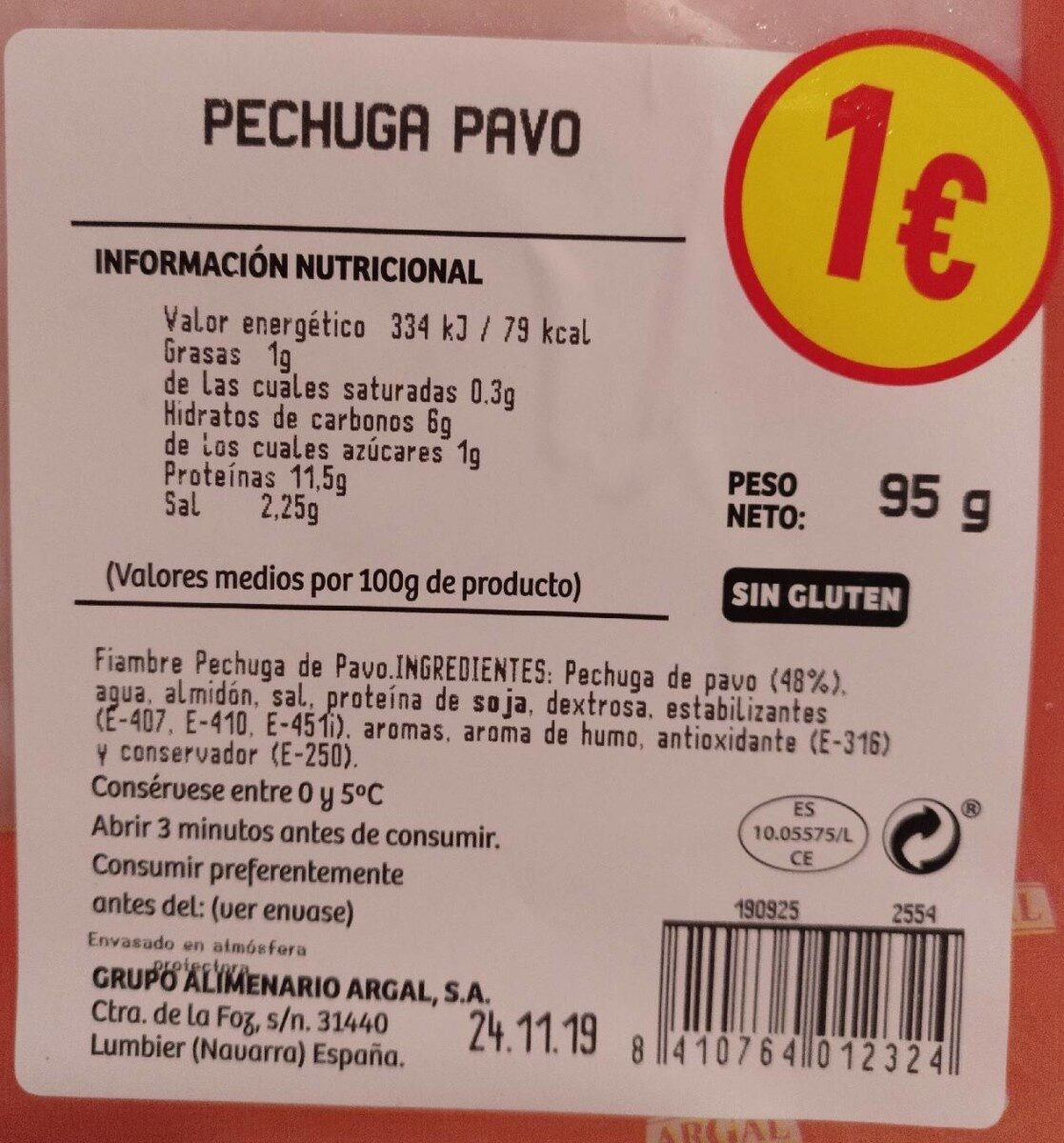 Pechuga pavo - Nutrition facts