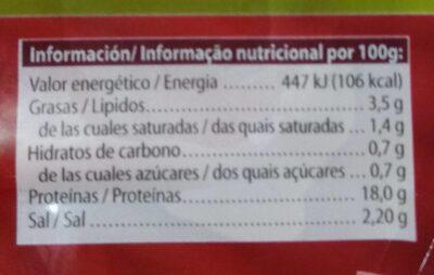 Jamón cocido extra - Voedingswaarden - es