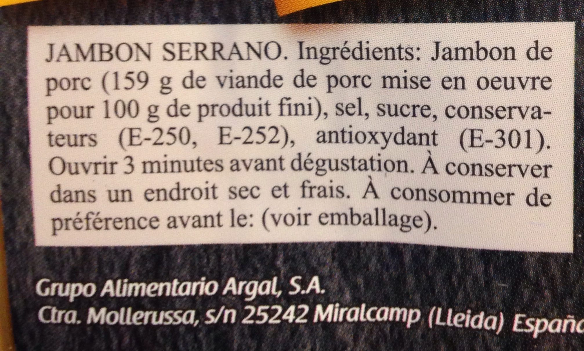 Jambon Serrano - Ingredientes - fr