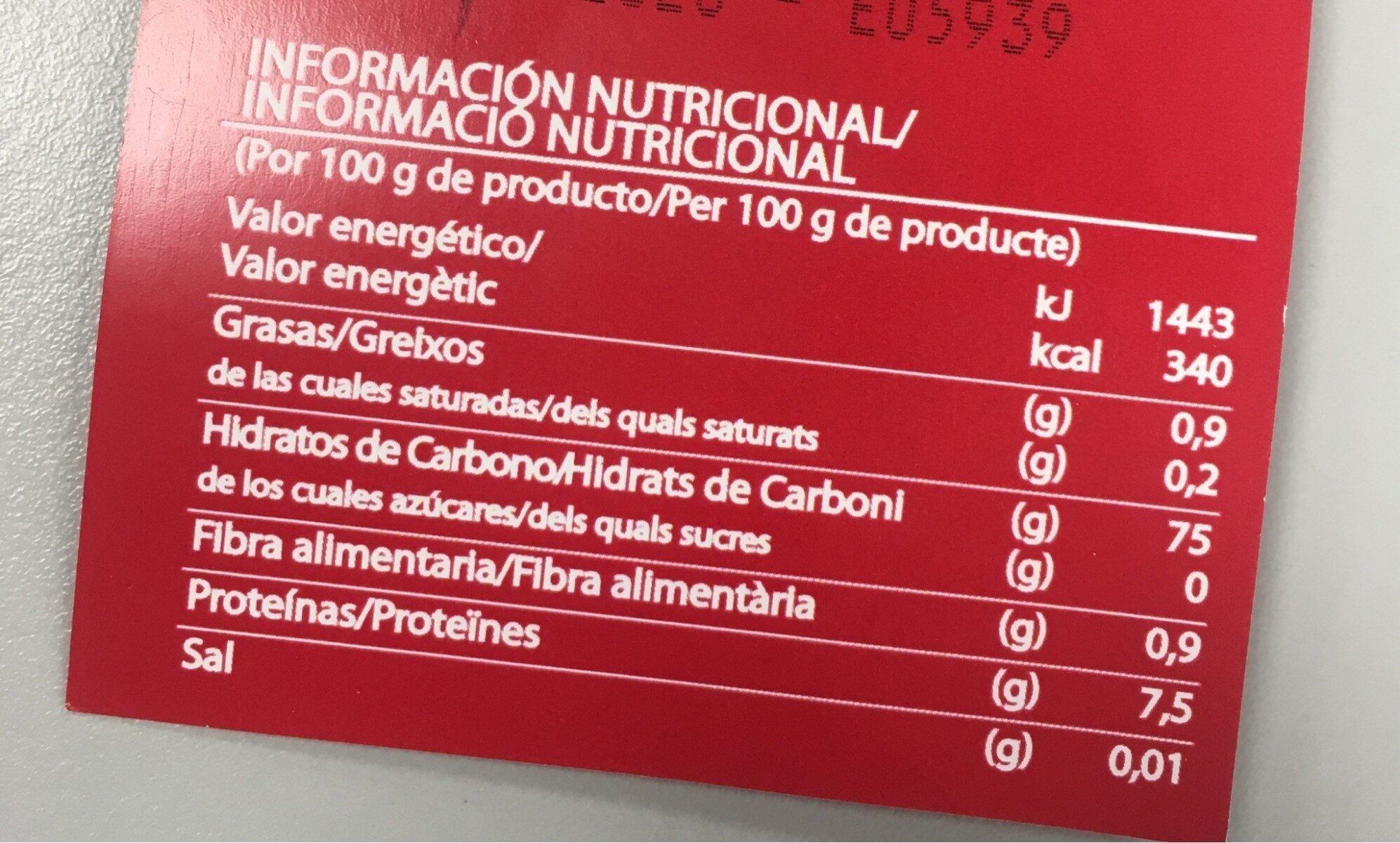 Arroz bomba - Valori nutrizionali - en
