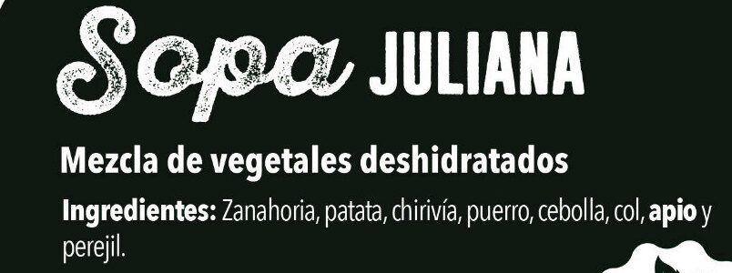 Sopa juliana - Ingredients - es