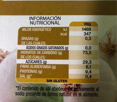 Cebolla deshidratada - Información nutricional