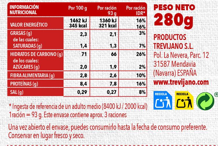 Risotto mediterráneo - Nutrition facts - es