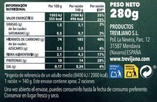 Paella Seleccion 8 Verduras - Información nutricional - es