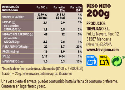Sopa de quinoa deshidratada - Información nutricional - es