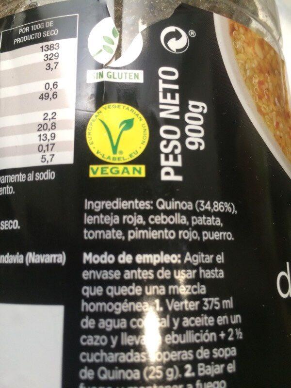 Sopa de Quinoa - Ingrédients - fr