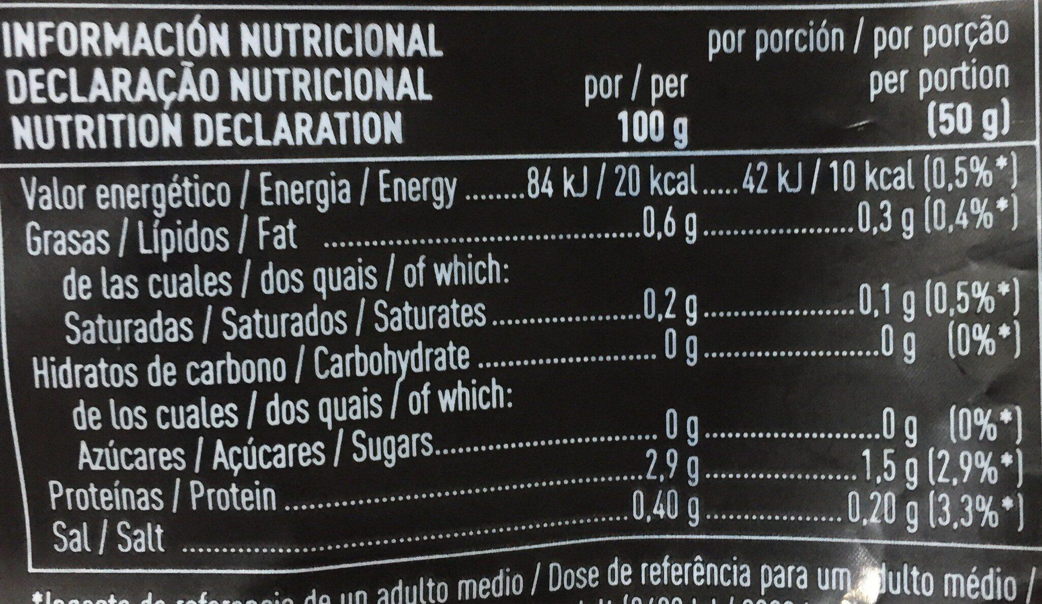 Brotes de Rúcula - Información nutricional