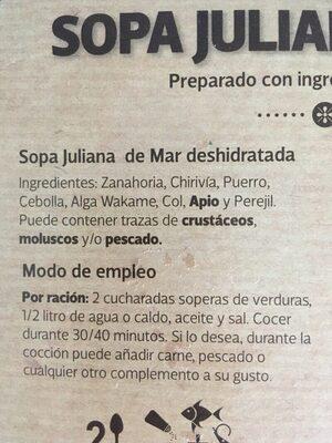 Sopa juliana de mar - Ingredients - es