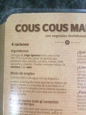 Cous cous marroquí - Ingredientes - es