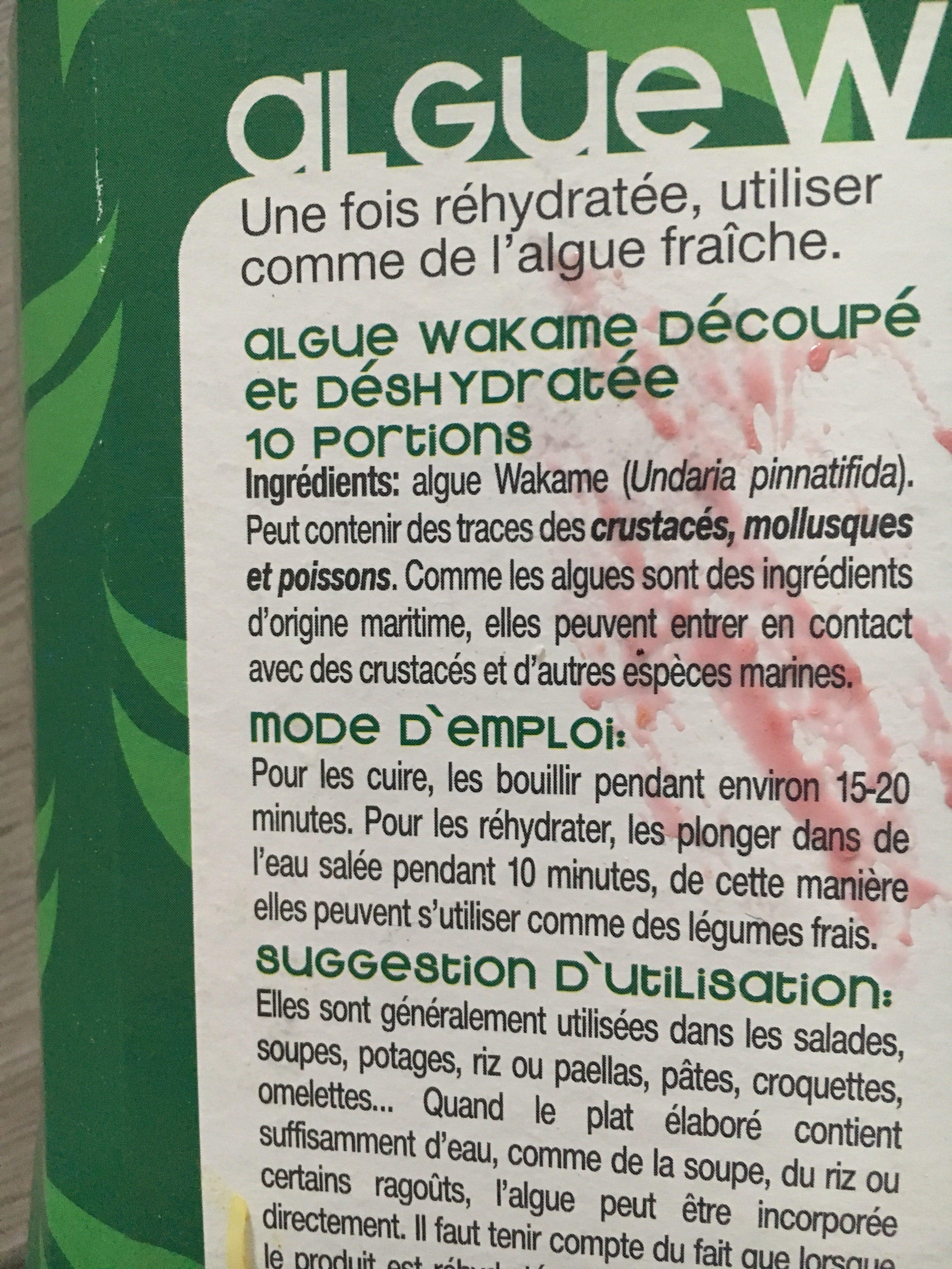 Alga Wakame Deshidratada - Ingredientes