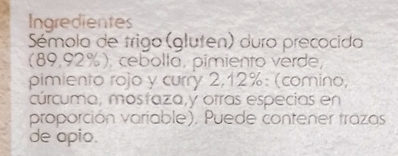 Cous Cous Oriental - Ingredientes
