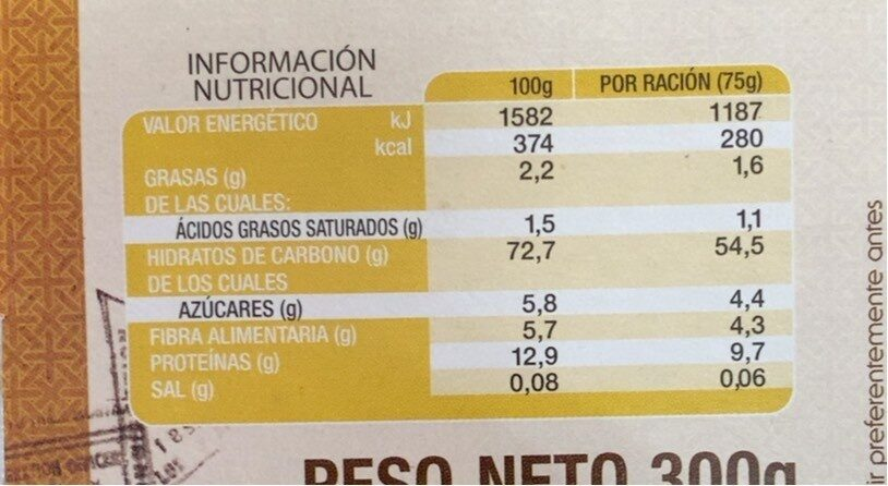 Orientalischer Couscous - 4 Portionen - Información nutricional - es