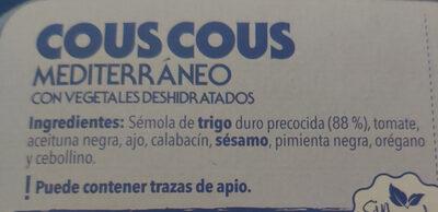Cous cous mediterráneo - Ingredientes - es