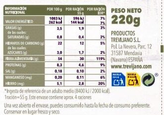 Lentejas con quinoa y verduritas - Información nutricional - es