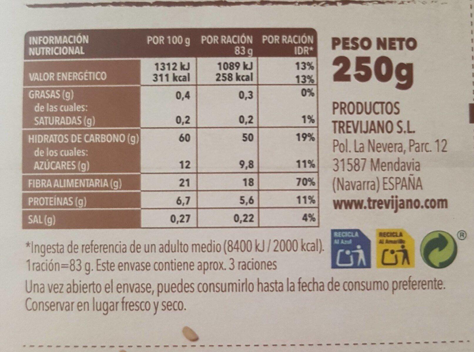 Arroz integral con trigueros - Información nutricional - es