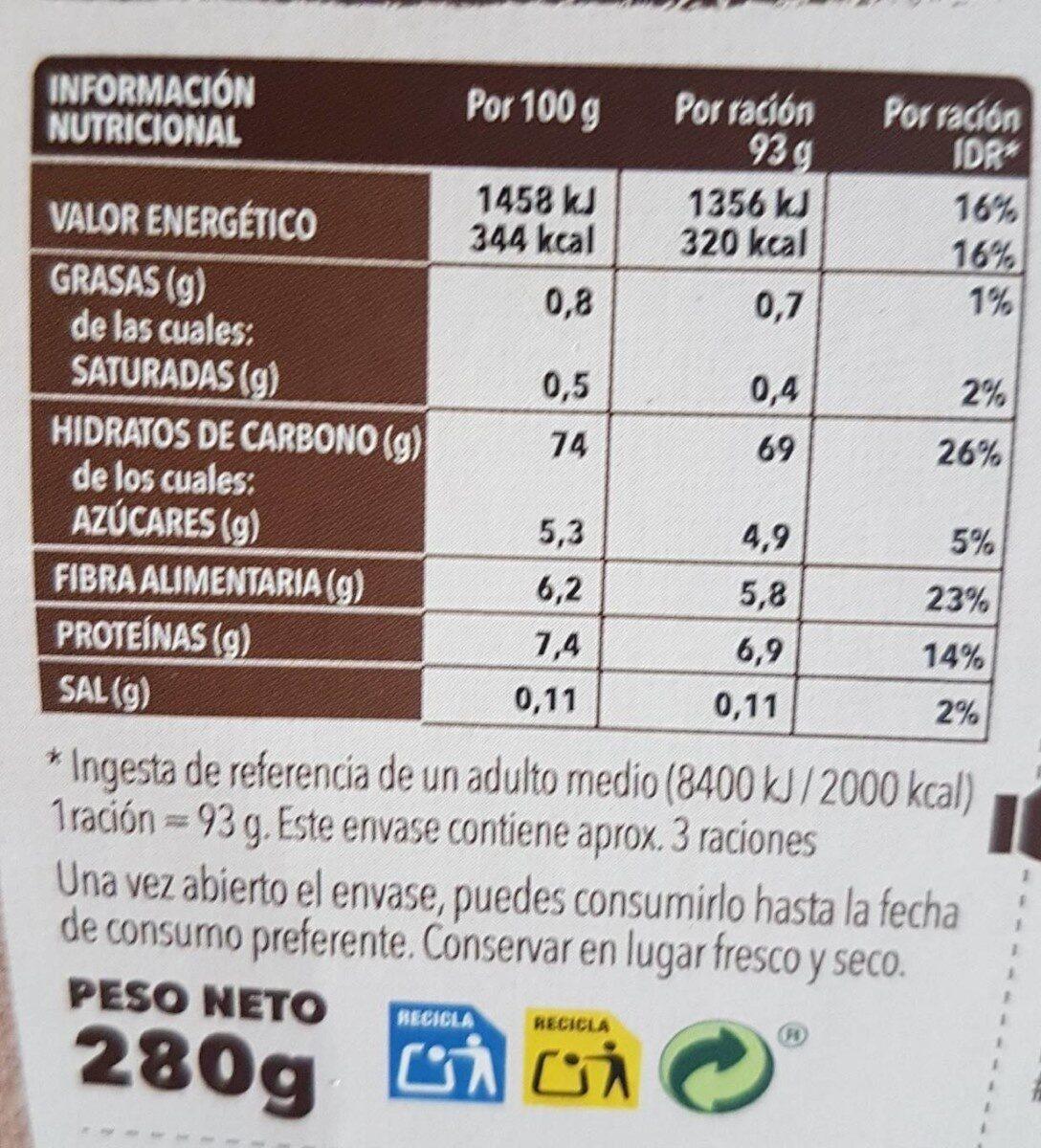 Risotto de hongos - Información nutricional - es
