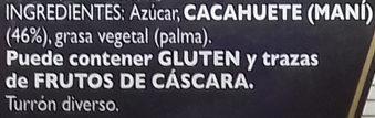 Turrón de cacahuete refinado - Ingredientes - es