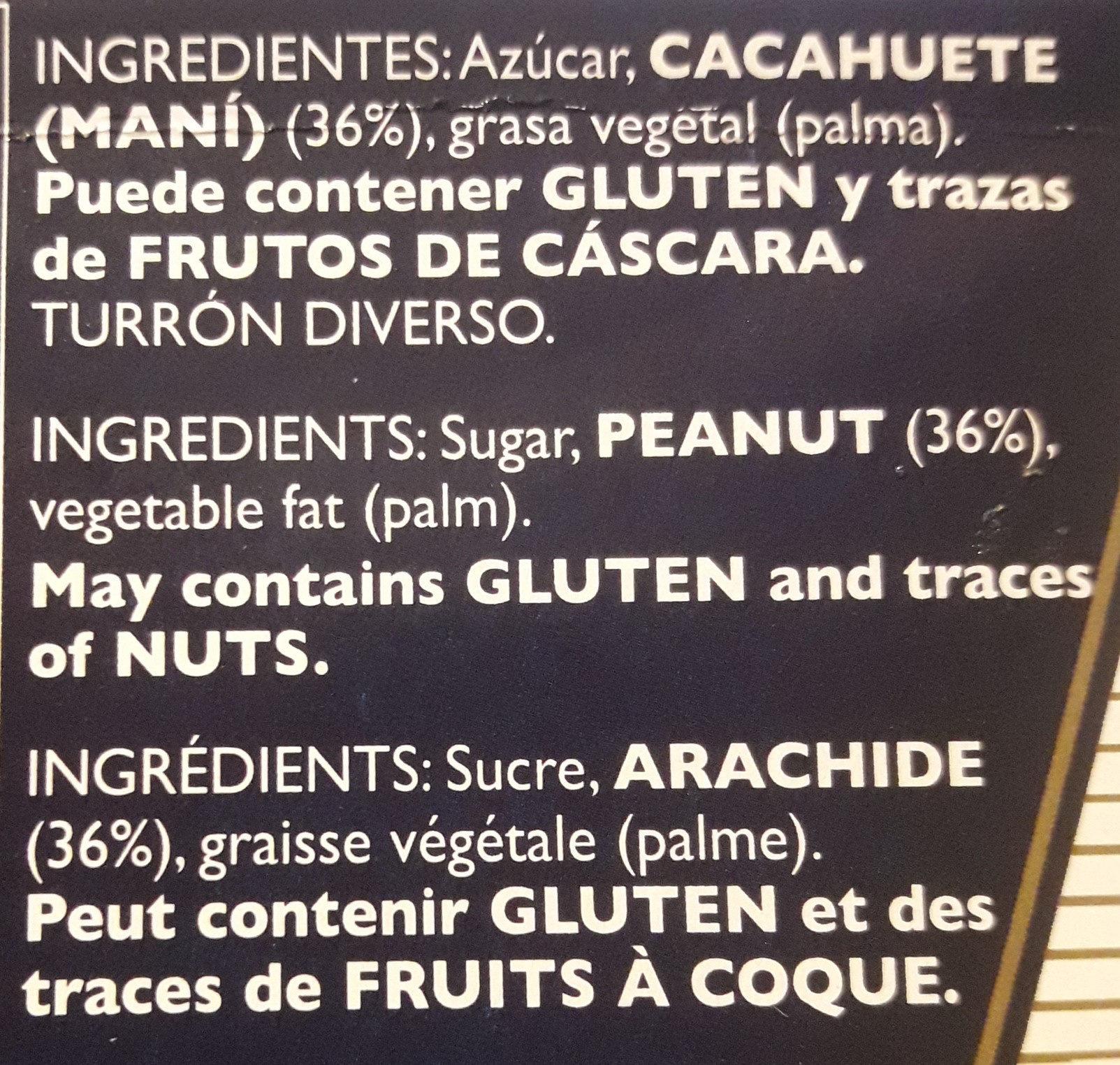 Turron de cacahuete refinado - Ingredients