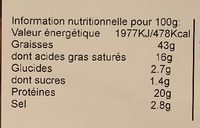 Chorizo BBQ - Informations nutritionnelles