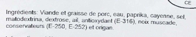 Chorizo BBQ fort - Ingrédients - fr