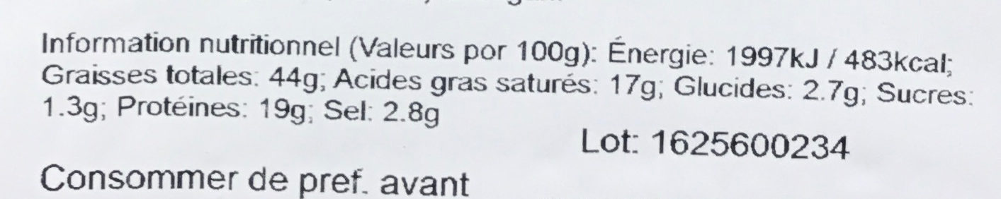 Chorizo BBQ fort - Informations nutritionnelles - fr